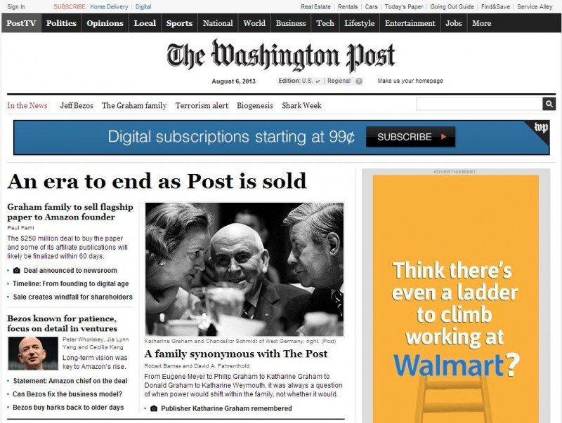 Le Washington Post racheté par le patron d'Amazon
